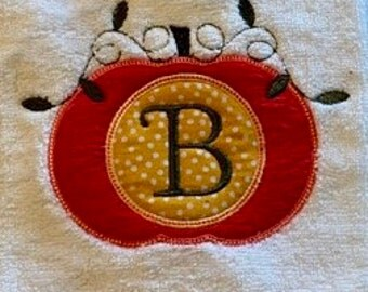 Fall, pumpkin, thanksgiving, embroidered, applique hand towel