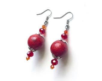 Red Coral Silver Earrings Red Coral Jewelry Statement Earrings Orb Earrings Red Earrings Boho Earrings Best Friend Gift Raw Stone Earrings