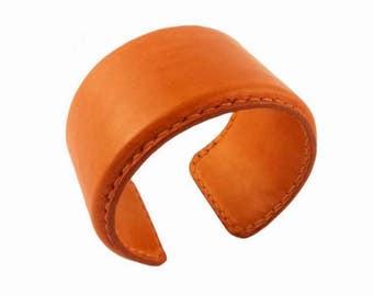 Leather bracelet. Cuff Bracelet 42mm.Leather bracelet is sewn with French linen waxed thread. Bracelet for woman. Handmade bracelet.