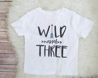 Wild and Three, Three year old, 3 year old birthday shirt, wild birthday, birthday boy shirt, kids clothing, toddler clothing, boys clothing