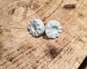 Matte light blue ceramic stud earrings