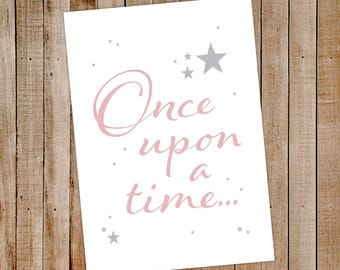 A4 Wall Print once upon a time - A4 Wall Print - A4 Print - Kids wall prints - Kids Poster - A4 sign kids - A4 Sign adults