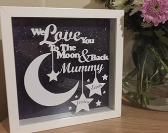 Personalised 'Love You To The Moon' Quote Shadow Box Frame Gift For Mummy or Daddy