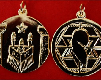 Martinez de Pasqually medallion pendant with sacred altar and flamboyant star