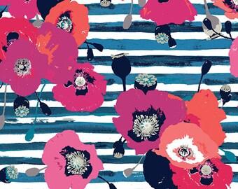 Art Gallery fabric- Paparounes knit -knit fabric -art gallery knit -paparounes crimson knit fabric -floral knit-Art gallery floral knit