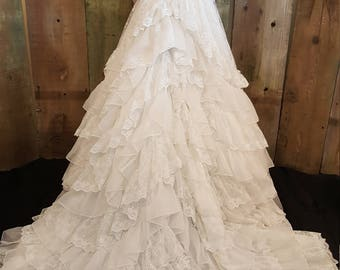 Beautiful layers of lace and tulle wedding gown vintage 1970's
