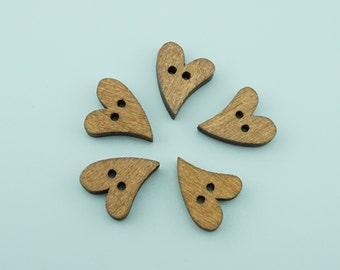 50pcs 16x20mm Cute Heart Wood Buttons,Cartoon Wooden Buttons NK008