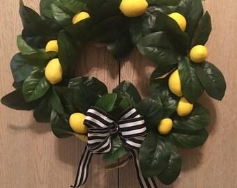 Stripped Lemon Wreath 12 inch