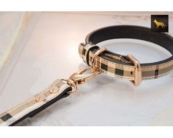 Plaid Berry Designer Leather Collar