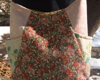 Coral Peach and Olive Quilty Tote Bag Purse