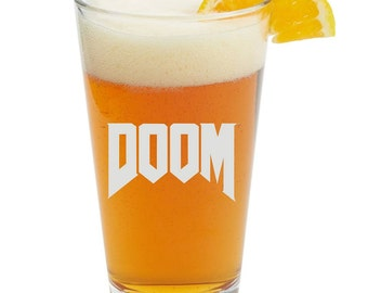 DOOM,Video Game,Barware,Geeky,Beer Glass, Pint glass,Personalized
