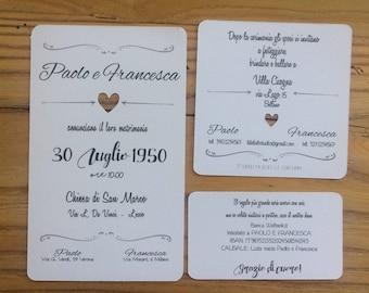 Shabby heart wedding invitations