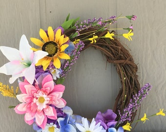 20' grapevine spring custom wreath