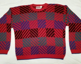 1980s Red sweater. LARGE.