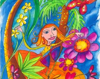 Fairy, Flowers, Palm Tree – Original Inks and Felt Pen