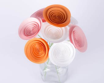"Hand-made paper flowers - bouquet ""Pink and peach"""