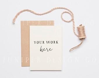 Simple Invitation Mockup, Kraft Envelope, Styled Stock Photography, Natural, Minimal (8486)