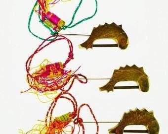 3 Vintage Brass Koi Fish Asian Locks with Keys