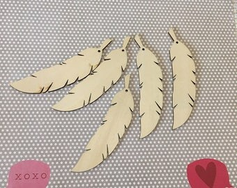 Lot of 10 Wooden Feathers