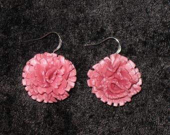 Pink Carnation Earrings, Polymer Clay Earrings, Silver Earrings,Mother's Day,Flower Earrings,Colorful Earrings,Floral Jewelry,Pink Earrings