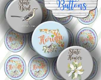 Florida State Map Buttons, Orange Blossoms, Mockingbird, Digital Collage Sheet, 1.5 Inch Circles, 8.5x11  Sheet: Instant Download