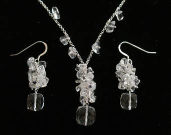 Hyacinth in a Pot Necklace & Earrings Set (Quartz, Sterling Silver)