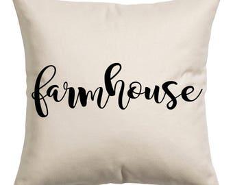 Farmhouse Canvas Pillow Cover 16x16