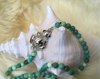 Got to Kiss Some Frogs ~ Emerald Eye Frog and Moss Opal Necklace