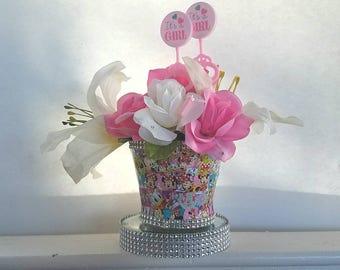 Pink Minnie Baby Shower Centerpiece, Minnie Centerpiece, Minnie Mouse Decorations, Minnie Birthday, Baby Shower Centerpiece,Pink Party Decor