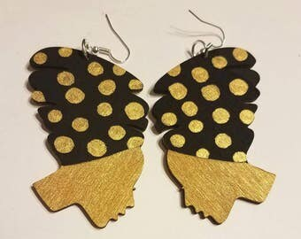 Black and Gold Polk a Dot Headwrap Lady