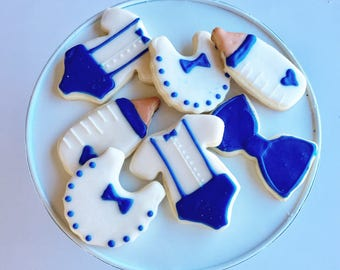 baby shower cookies - 1 dozen, boy
