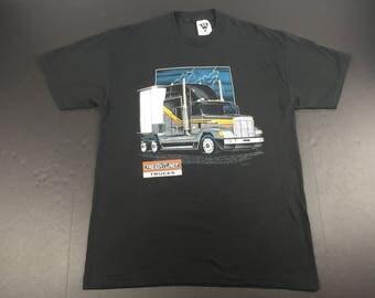 Vintage 1991 Freightliner trucks t-shirt paper thin lightning bolts semi trucker 50/50 mens L