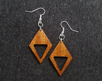 Diamond and triangle wood earrings, mahogany and silver 0060