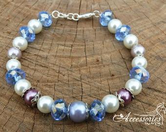 Crystal bracelet Swarovski crystal Preciosa beads Blue bead bracelet Swarovski bracelet Multi color bracelet Feminine bracelet Bridal