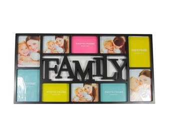 """28.75"""" Black Dual-Sized """"Family"""" Photo Picture Frame Collage Wall Decoration - ITEM# 31812467"""