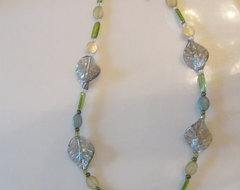 Green, Sea and Iridescent Twist Necklace & FREE Earrings