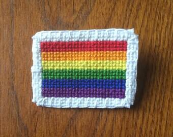rainbow pride flag cross stitch pin