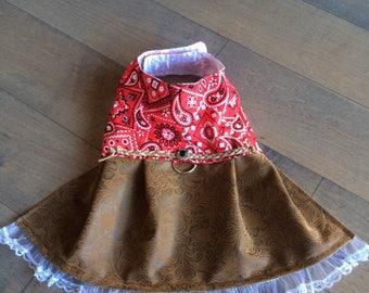 Red Bandana Western Wear Small Dog Harness Dress, 4th July Dog Dress Size Small