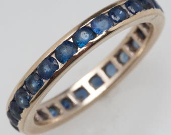 Round Blue Sapphire Eternity Band Ring Size 5.75 – Vintage Sapphire Eternity Band in White Gold