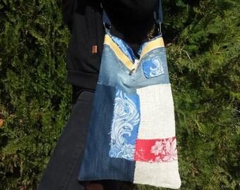 Cool shoulder bag made of patchwork and denim