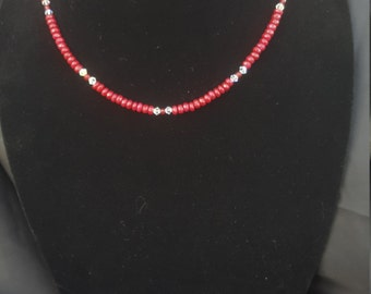 Authentic Faceted Ruby and Swarovski Crystals Necklace
