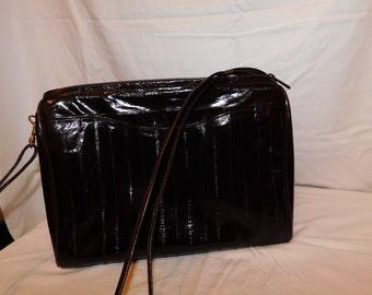 Vintage Lee Sands chocolate brown eel skin purse