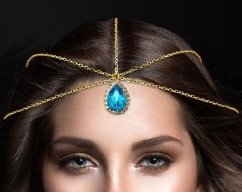 gold sky blue Crystal Statement Indian Matha Patti Tikka Head Chain Jewelry Jewellry Bridal Prom Wedding Bollywood Hijab Bridal Hair Piece