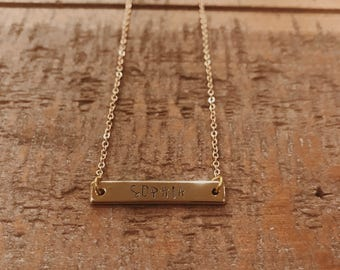 Hand Stamped Bar Necklace- Gold Custom