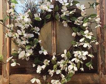 Antique Rustic Window with Wreath