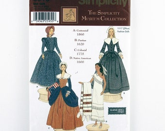"Simplicity Pattern 5913 Patriotic Costumes for 11-1/2"" Fashion Doll, Centennial, Puritan, Colonial, Native American Doll Costume Patterns"