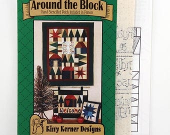 Vintage Quilting Patterns, Around the Block, 24 x 30 Wallhanging, 14 x 17 Wallhanging, 11 x 11 Pillow, Includes Hand-Stenciled Cloth Patch