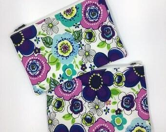 Floral printed zipper pouch / coin purse handmade