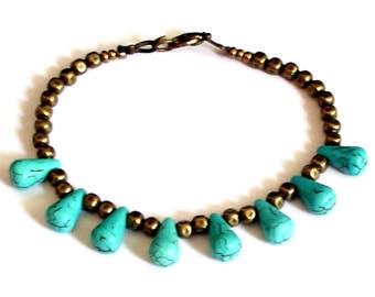 Relaxing insomnia spiritual patience ambition energy bracelet boho chic minimalist bronze bracelet turquoise tears