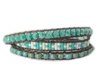 Turquoise wrap bracelet made with Miyuki beads